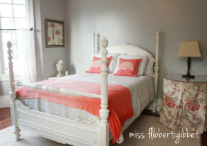 Creating A Guest Room: Gray and Coral